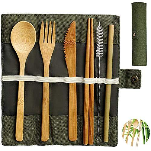 Bambus Besteck Set | Reisebesteck | Umweltfreundliches...