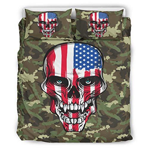 NiTIAN American Flag Skull Chic Printed Bedding Set Duvet Quilt Und Kissenbezug All Seasons Bettwäsche-Set für Kinder Jungen Mädchen with Zip White 229x229cm