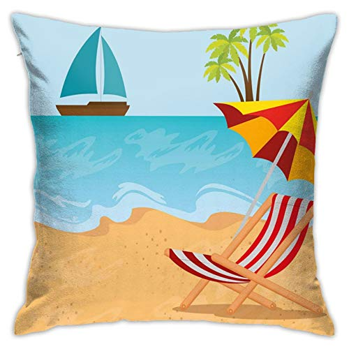 DHNKW Throw Pillow Case Cushion Cover,Summer Leisure Scene At Coast Ocean Sailboat Parasol and Chair Cartoon Style ,18x18 Inches