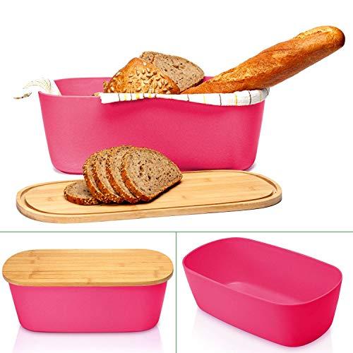 bambuswald© Panera con tabla de cocina de bambú - 38 x 21,5 x 12 cm   Recipiente sostenible para pan, panecillos o cruasán   Canasta de pan con tabla/bandeja: color rosa