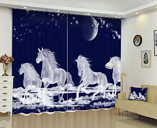 AmDxD 2 Panels Polyester Kitchen Curtains, Curtains for Windows Kitchen Running White Horse Curtain, Machine Washable, Dark Blue, 108 W x 96 H Inches