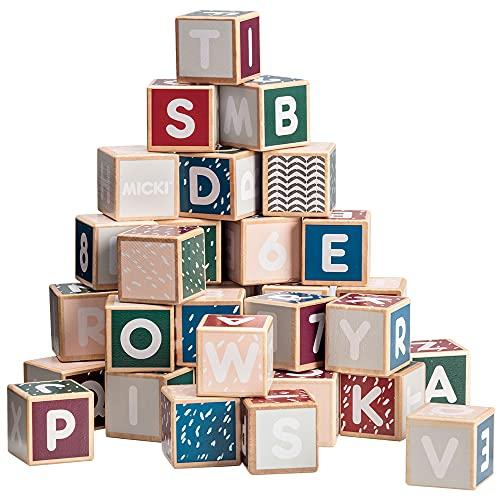 Micki 10218300 Buchstaben-Zahlen-Klötze Senses - 36 Bausteine - Holz - ca. 3x3x3 cm - ab 1 Jahr - Swedish Design