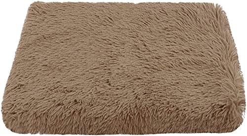 Kohza Cama para perros resistente al agua, lavable, de felpa, apta para el coche para perros pequeños y medianos y gatos (M, marrón)