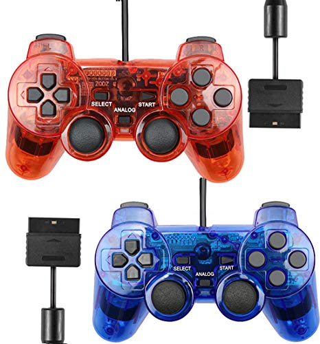 Wired Controller for PS2 Playstation 2 Dual Shock(Pack of 2,ClearBlue and ClearRed)