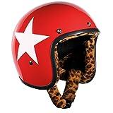 Bandit Star Red Leo Casque Casque de doublure, Roller, casque de moto, léger, confortable