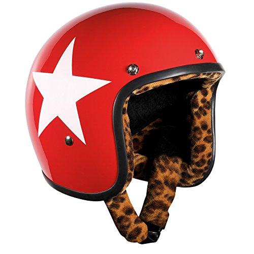 Bandit Helmets Jethelm Star Red Leo-Futter,Motorradhelm mit Leoparden Futter und Sonnenschild, Sports-Farbe:Red;Größe:S(55-56cm)