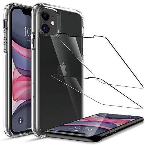LK Custodia Compatibile con iPhone 11 Cover, 2 Pezzi Screen Protector Vetro Temperato, Bumper Case Cover Assorbimento degli Urti- Super Trasparente