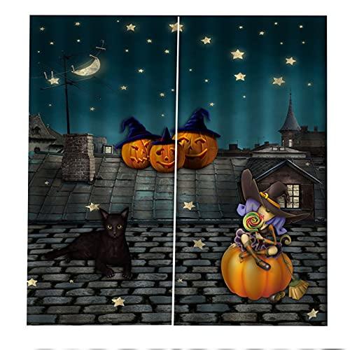 Cortinas Decorativas 3D Lámpara De Calabaza De Halloween Impresión Aislamiento Acústico Y Protección Uv Sala De Estar Dormitorio Balcón Habitación De Los Niños Cortinas Decorativas 2xW140xH245cm