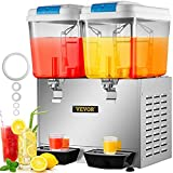 VEVOR 110V Commercial Cold Beverage Dispenser Machine 9.5 Gallon 36L 2 Tanks Ice Tea Drink Dispenser 300W Stainless Steel Fruit Juice Equipped with Thermostat Controller
