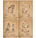 Horse Riding Equipment - Patent Prints - Set of 4 Invention Patents for Cowboys in late 1800's - Gift for Horse Lovers