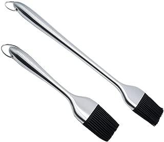Hoton BBQ Basting Brush, 2 pcs Sauce Basting Brush Silicone Bristles 8.42 Inch and 12.6 Inch Barbecue Basting Brushes-Premium Stainless Steel Handles