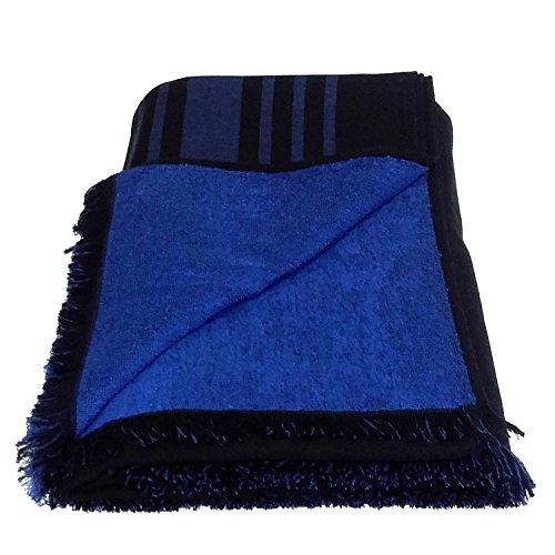 Toalla de baño grande de 100% algodón, de doble cara, color negro con patrón de rayas azules
