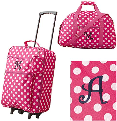 Girls' 3-Piece Monogram Luggage Set - Pink Polka Dots - Monogram Letter A