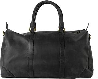 HOLZRICHTER Berlin No 8-1 M - Premium Weekender Reisetasche, Sporttasche & Handgepäck aus Leder - schwarz-anthrazit