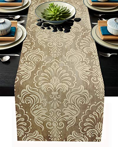 """PIEPLE Traditional Handwork Silk Brocade Pattern Cotton Linen Table Runner Baby-Shower, Retro Floral Lace Golden Rectangle Tabletop and Dresser Scarves for Wedding/Picnic/Banquet 18"""" x 72"""""""