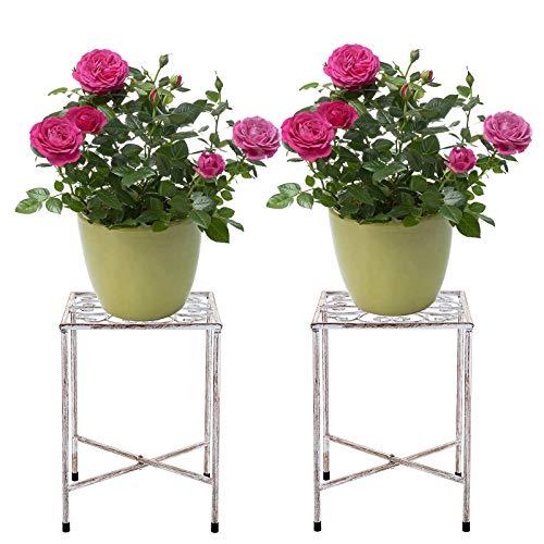 SUMTREE Vintage-Pflanzenhocker aus Eisen,Blumentreppen, Gartenregal,Pflanzenregal,Dekoration für Balkone, Innenhöfe,Gärten(2 Stück,Weiß,Rund)