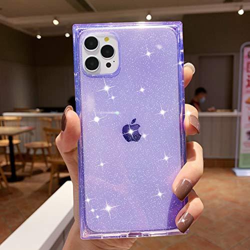 Tzomsze - Custodia per iPhone 12/12 Pro da donna, con brillantini trasparenti, forma quadrata, in silicone trasparente, con angoli rinforzati, 15,1 cm, colore: Viola