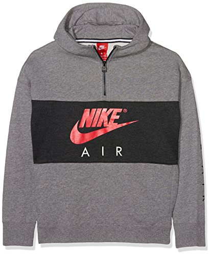 Nike Kinder B Nk Air Hoodie Hz Po Sweatshirt, Grau (Carbon Heather/Anthracite/Siren Red), XS