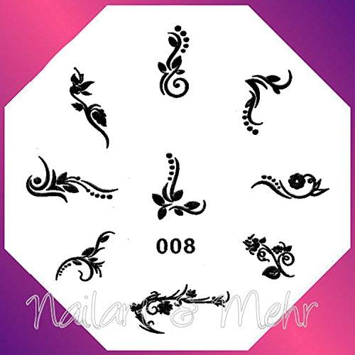 Pochoir de stamping # 008 ~ Fleurs de Ranken ~ (HB)