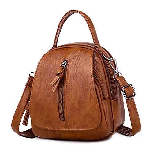 MIMITU Mochila para mujer moda casual cuero mochila de viaje al aire libre bolsa de mensajero, negro