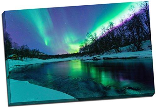 Panther Print - Stampa su tela che riproduce le luci dell'aurora boreale su un fiume, da parete, immagine grande 76,20 x 50,80 20 cm