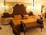 Casa Padrino Conjunto de Dormitorio Barroco marrón/Crema/Oro - 1 Cama Doble con Cabecero y 2 Mesitas de Noche y 1 Banco - Muebles de Dormitorio barrocos - Noble & Magnífica
