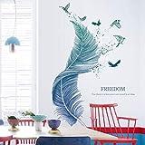 WandSticker4U®- Wandtattoo Wohnzimmer FEDER blau I
