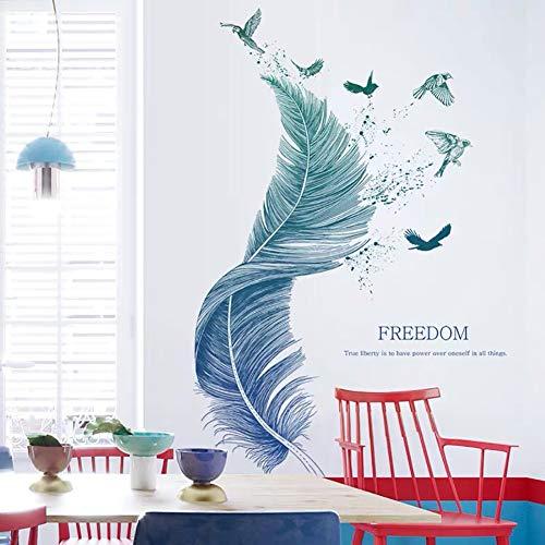 WandSticker4U®- Wandtattoo Wohnzimmer FEDER blau I Wandbilder: 124×72cm I Wandsticker Modern Schlafzimmer Aufkleber Vogel Poster I Wand Deko für Küche Bad Flur Möbel Fenster GROSS