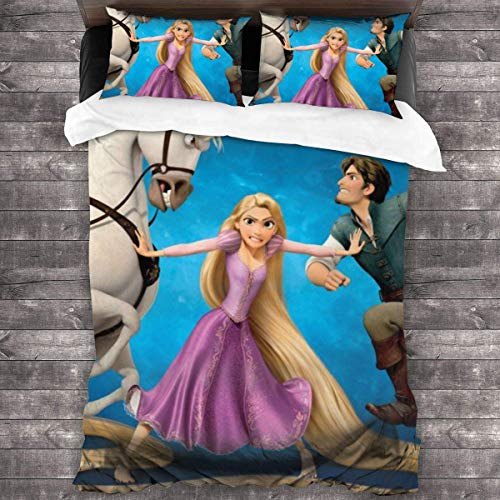 Knncch Ropa de Cama Funda nórdica Juego de 3 Piezas Tangled Rapunzel Ropa de Cama Juegos de Funda nórdica para niños Mujeres Hombres