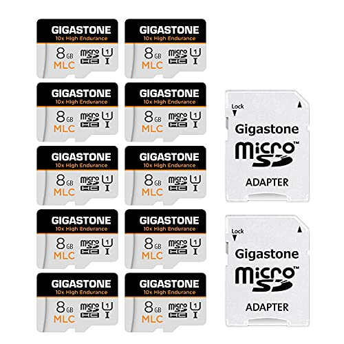 Gigastone MLC 8GB MicroSDXC Speicherkarte 10er-Pack und SD Adapter, 10x High Endurance bis zu 90/40 MB/s ideal für 4K Videoaufnahme, Kompatibel mit Dashcam Überwachungskamera, UHS-I U1 C10 Klasse 10