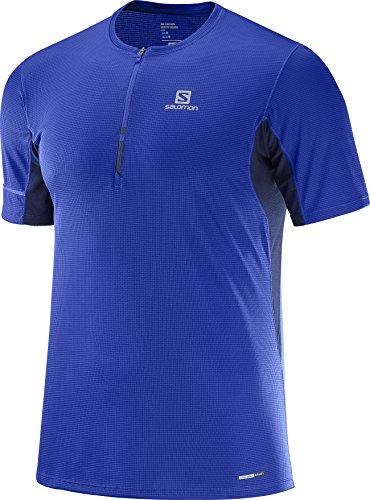 Salomon Homme T-Shirt de Sport à Manches Courtes, AGILE HZ SS TEE, Jersey Double, Bleu, Taille S, L40219200
