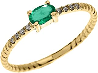 Dainty 14k Yellow Gold Diamond and Solitaire Oval Emerald Rope Design Stackable/Proposal Ring