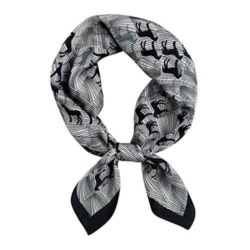 DAMILY - Pañuelo cuadrado para hombre, de seda con diseño de rayas, Negro , M