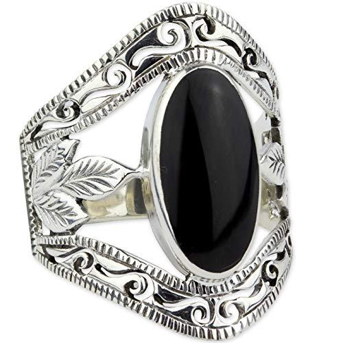 Silberring Big Gothic Beauty 925 Sterling Silber mit Onyx (59 (18.8))