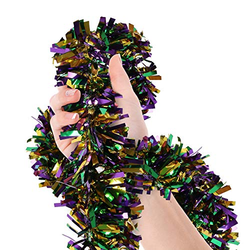 Mardi Gras Christmas Tree Tinsel Garland Gold Green Purple Wide Cut Metallic Streamers for Mardi Gras Party Supplies Christmas Oktoberfest Birthday Disco Party Decorations