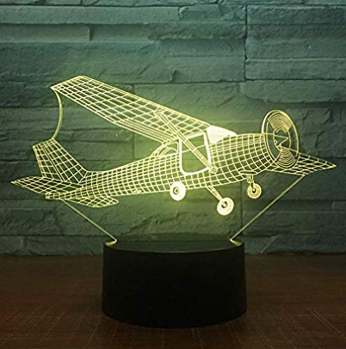 3D Illusion Night Light 7 Color Led Vision Old Style Glider Plane Atmosphere Bedroom Home Decor Colorful Creative Gift Remote Control