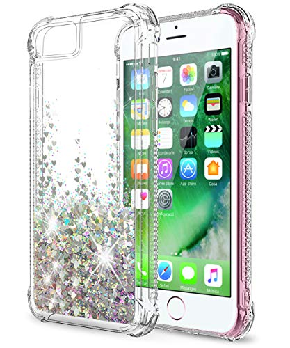 SunRemex iPhone SE Case (2020),iPhone 8 Case,iPhone 7 Case,iPhone 6S Case,iPhone 6 Case,iPhone SE 2nd Generation Case,Glitter Shining Quicksand Clear TPU with Anti-Fall Angle Reinforcement (Silver)