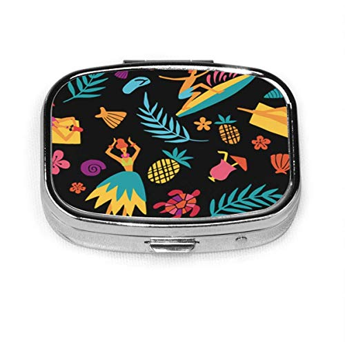 Preisvergleich Produktbild Hawaii Tourist Attractions Symbols and Colorful Hula Dancer Woman Pill Box Decorative Boxes Pill Case Tablet Holder Wallet Organizer Case for Pocket Or Purse