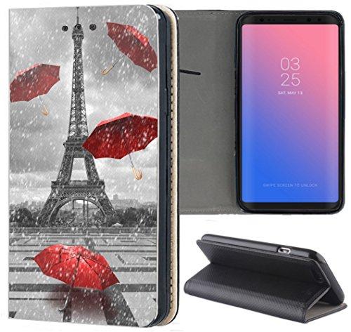 KX-Mobile Samsung Galaxy A41 Hülle - Handyhülle für Samsung Galaxy A41 - Handycover aus Kunstleder Motiv 1107 Eifelturm Paris Frankreich Schutzhülle Smart Klapphülle Hülle