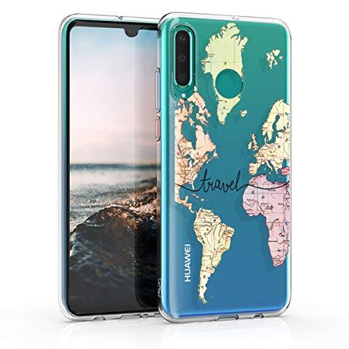 kwmobile Cover Compatibile con Huawei P30 Lite - Custodia in Silicone TPU - Backcover Protettiva Cellulare Mappa del Mondo Nero/Multicolore/Trasparente