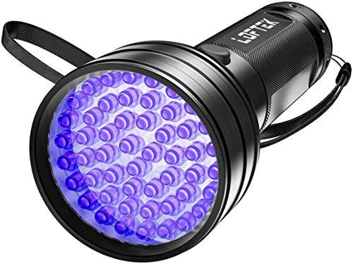 LOFTEK 51 LED Lampe Torche UV de Poche Flashlight Blacklight Lumière Ultra Violet 395nm Détecteur Anti Punaise de Lit 3 Piles AA