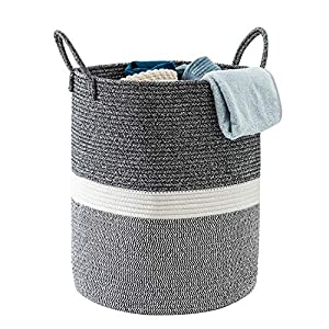 Cotton Rope Storage Basket Laundry Baby Hamper with Handle Tall Decorative Woven Basket for Blankets Large Woven Basket for Toy,Cloth,Yoga Mat,Pillow (Dark Gray&White)