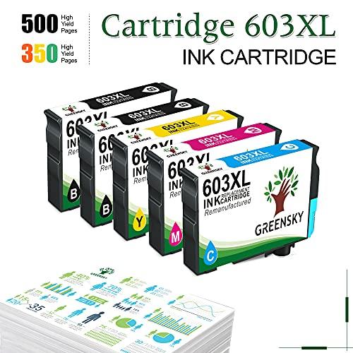 GREENSKY Cartucho de Tinta Compatible para Epson 603 603XL para Epson Expression Home XP-2100 XP-2105 XP-4105 XP-4100 XP-3105 XP-3100 Workforce WF-2850DWF WF-2835DWF WF-2830DWF WF-2810DWF