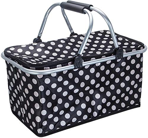 Picnic Basket Insulated Double Hands Large Size Strong Aluminum Frame Waterproof Lining Collapsible Design Easy Storage for Camping, Picnicking,Black
