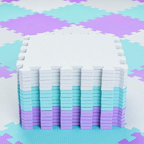 qqpp Alfombra Puzzle para Niños Bebe Infantil - Suelo de Goma EVA Suave. 18 Piezas (30 * 30 * 1cm), Blanco, Verde, Morado.QQC-AHKb18N