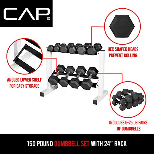 CAP Barbell 150 Pound Coated Hex Dumbbell Set with 2-Tier...