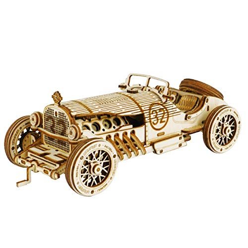Wooden 3D Jigsaw Puzzle Construction Set DIY Mechanical Model Build Kit 3D Laser Cut Woodcraft Model Making Puzzle Challenge Gift Set for Adult and Teens (Grand Prix Car)