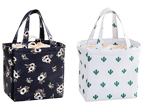 iSuperb 2 Pack Insulated Lunch Bag Reusable Lunch Tote Drawstring Cooler Bag Waterproof Oxford Travel Picnic Lunch Box (Cactus &White flower)