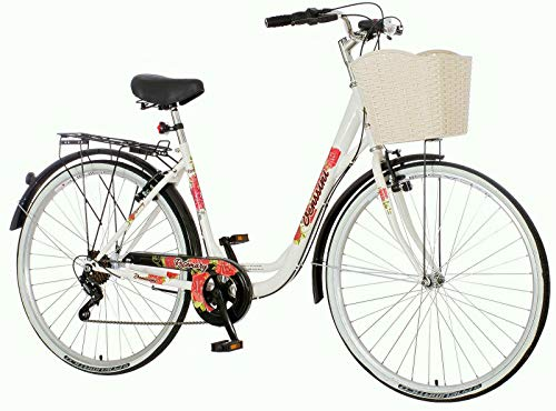breluxx® 28 Zoll Economy Damenfahrrad Venssini Citybike mit Korb + Gepäckträger + Licht, weiß, 6 Gang Shimano Kettenschaltung, Made in EU