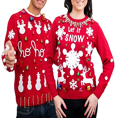 Men's Women's Ugly Christmas Sweater Kit New and Improved(Red,Large)